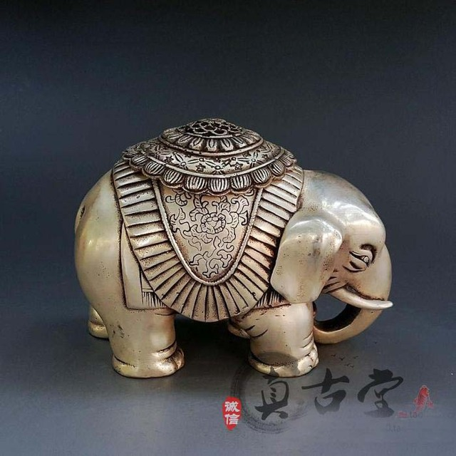 TOP Collection Home OFFICE Decor COOL Art Old Vintage Silver Elephant Sculpture Plating