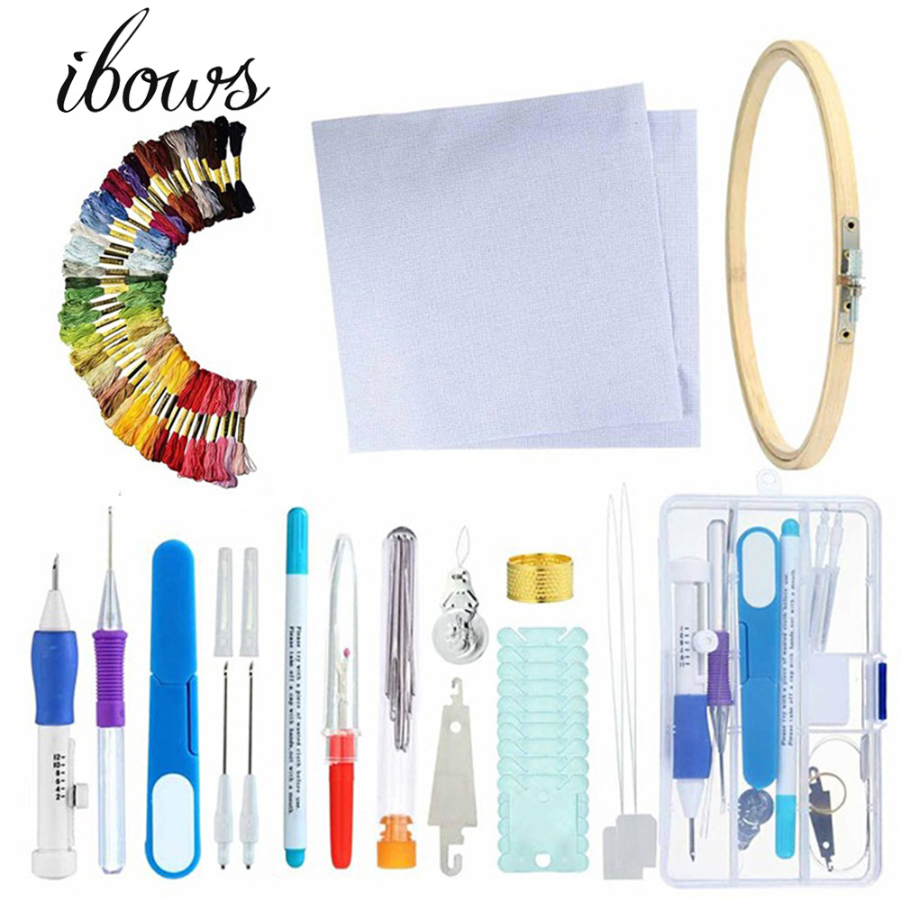 Magic DIY Embroidery Pen Knitting Sewing Tool Kit Punch Needle Set Threads Plastic+Steel Home Decoration DIY Sewing Tools