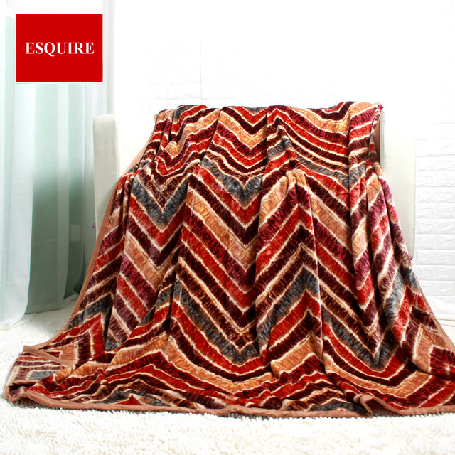High Quality 100% Polyester Big Thick Stripped Wave Brown Fleece Flannel  Bed Sheet For King