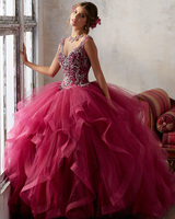 Jark Tozr V Neck Sequined Beading Bodice Baby Pink Ivory Burgundy Ball Gown Quinceanera Dresses 2017