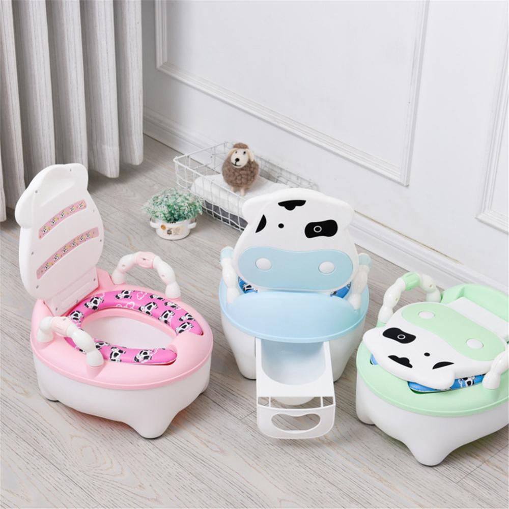 Baby Pot For Children Boys Potty Training Potty Baby Toilet Seat Girls Portable Toilet Cow Comfortable Backrest Cartoon Cute Pot