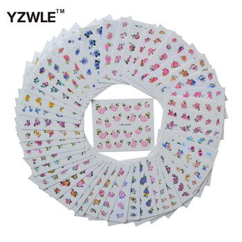 цена на YZWLE 48 Sheets DIY Decals Accessories Flower Nails Art Water Transfer Printing Stickers For Manicure Salon