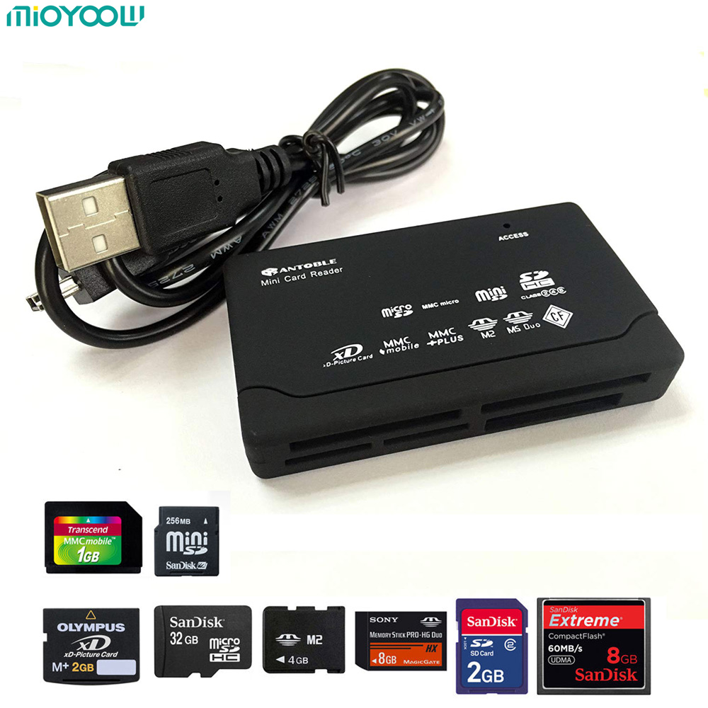 All in One Card Reader TF MS M2 XD CF Micro SD Carder Reader USB 2.0 480Mbps Card Reader Mini Memory Cardreader with Date Line ugreen card reader usb 3 0 all in one sd micro sd tf cf ms compact flash smart memory card adapter type c otg sd card reader