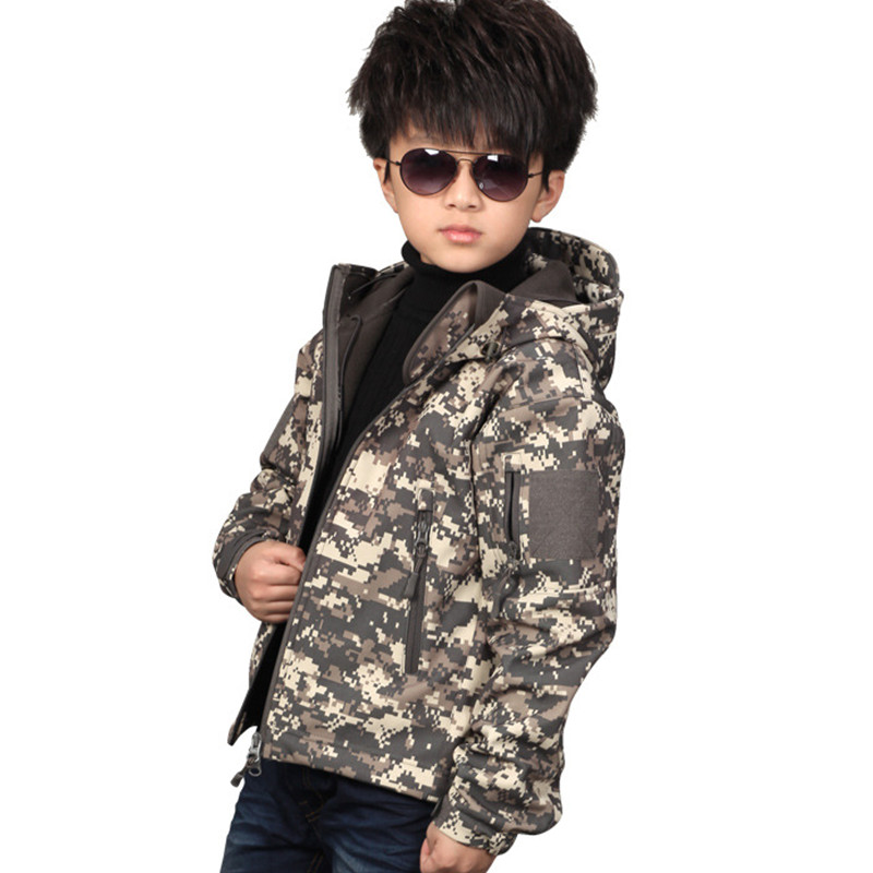 2018 Spring Boys Army Camouflage Coat Military Tactical TAD Jacket Kids Soft Shell Waterproof Jacket Children
