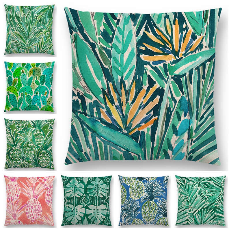 Newest Watercolor Tropical Jungle Greenery Leaf Cactus Pineapple Cushion Cover 25 Design Available Pillowcase