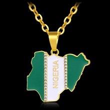 Африка Нигерия карта страны и кулон в форме флага ожерелье для женщин/мужчин золотой цвет Liberia карта страны ювелирные изделия подарок