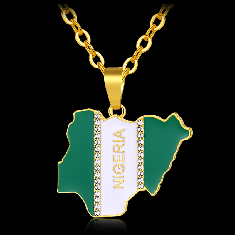 Africa NIGERIA Country Map & Flag Pendant Necklace for women men