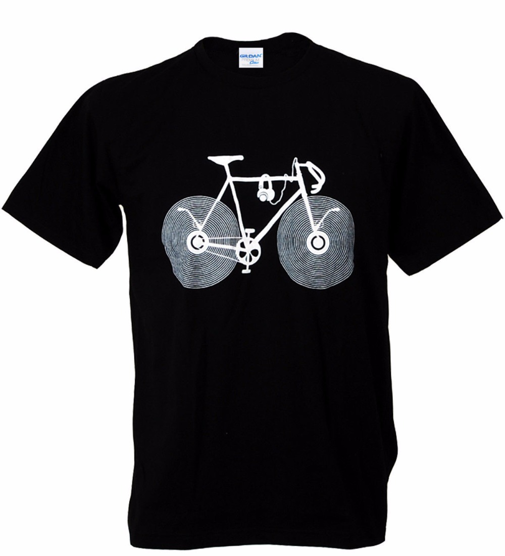 2018 Men T Shirt 100% Cotton Short Sleeve Printed Fitness Music Love Bicycle Audiophile Wheel Fix Gear Live Strong Tee Shirt