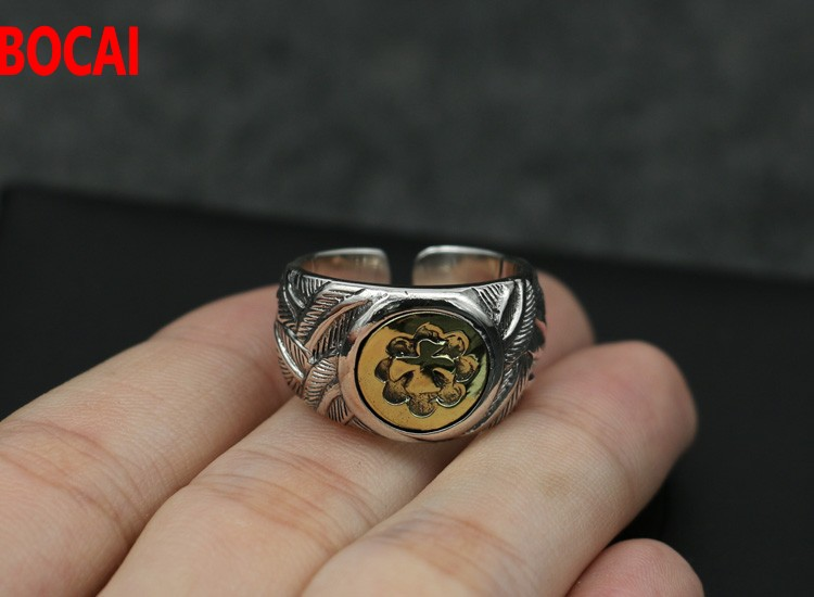 все цены на Engraved silver feathers ring gentleman accessories single men opening birds ring