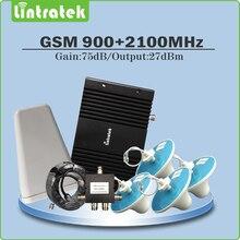 Gain 75dB Repeater GSM 900 MHz & WCDMA UMTS 2100 MHz Dual Band handy Signal Booster vollen satz für 4 STÜCKE Innendecke Antenne