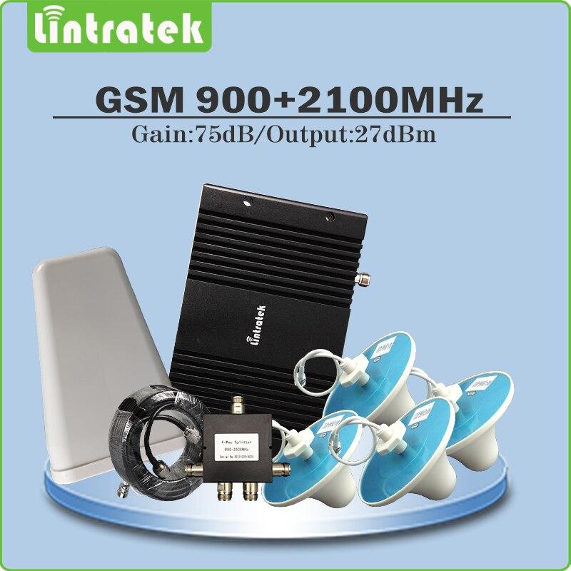 Gain 75dB répéteur GSM 900 MHz & WCDMA UMTS 2100 MHz double bande amplificateur de Signal Mobile ensemble complet pour 4 antenne de plafond intérieure @ 7.8