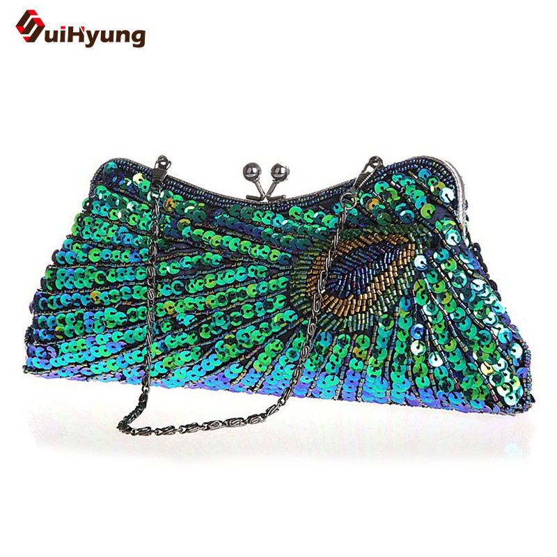 New Fashion Wedding Party Handbag Purse Vintage Beaded Peacock Pattern Day Clutch Lady Evening Bag With