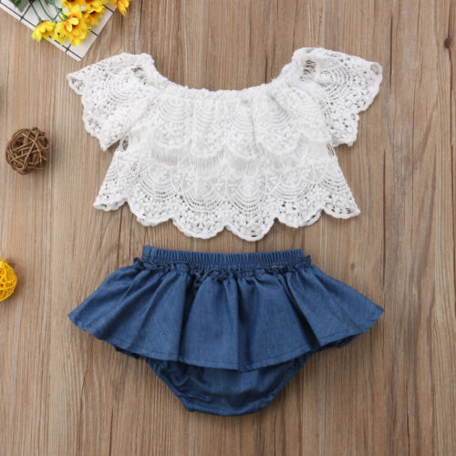 Newborn Baby Girls Off Shoulder Clothes Floral Tops+Denim Dress Pants Outfits