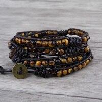 Tiger eye bead Jewelry Yellow Bead Leather wrap bracelet 5 Wrap row beads bracelet gyspy yellow Jewelry Bead Boho natural stone