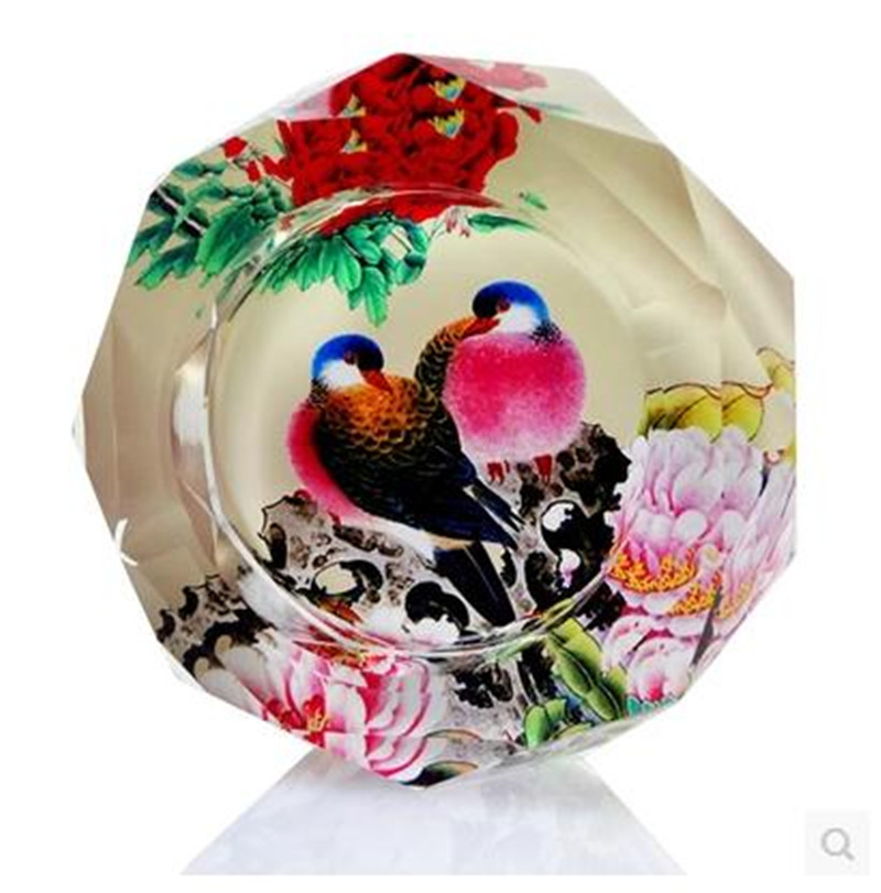 ... Peacock Office Supplies #32   Peacock Pattern Crafts, Crystal Ashtray,  Household Goods And ...