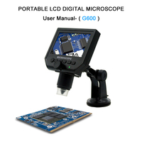 1 600x 3.6MP USB Digital Electronic Microscope Portable 8 LED VGA Microscope With 4.3 HD OLED Screen For Pcb Motherboard Repair