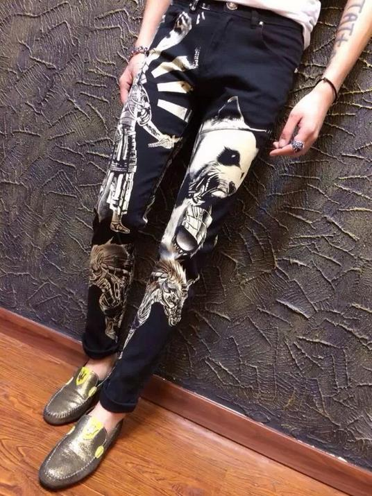 ФОТО Autumn black fashion england famous brand printed jeans men pant denim trousers male straight personalized modern urban