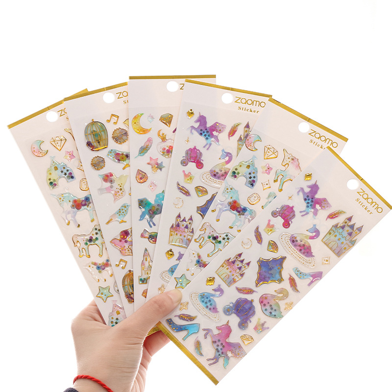 1 PC Kawaii Pvc 3D Crystal Sticker Cute Unicorn Planet Decorative Stickers For Diary Album Diy Scrapbooking School Stationery in Stationery Stickers from Office School Supplies