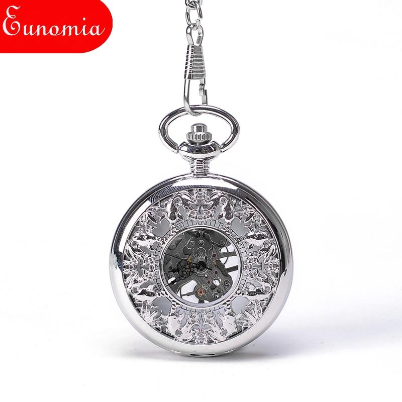 b6b06522da614 US $16.99  Men Silver Skeleton Steampunk Mechanical Pocket Watch Necklace  Key Chain Suits Vintage Sales Cool Watch Luxury Designer Round-in Pocket &  ...