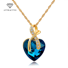 ATTRACTTO 2019 Fashion Jewelry Austrian Crystal Heart Pendant Necklace&Pendants Women Gold Necklaces Collares Necklace SNE140228