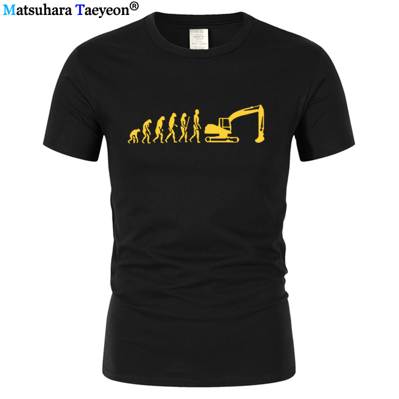 men t shirt Evolution T-Shirt Excavator Construction Vehicle Machine Caterpillar Construction Worker Hobby Tshirt Tee Shirt T213