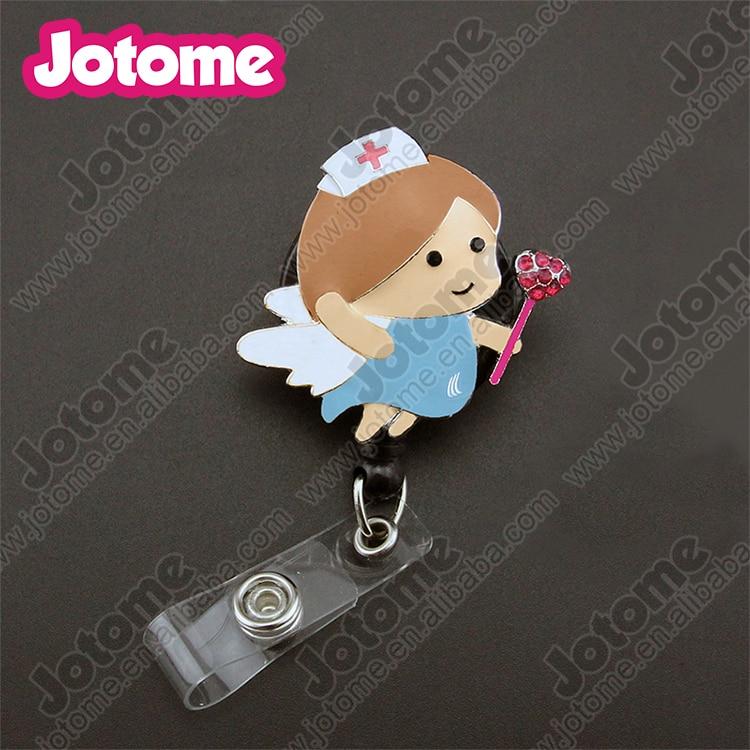 Porte-badge/bobine rétractable d'aile d'ange médical d'émail de vente chaude pour le docteur d'infirmière