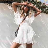 New 2019 Spring Summer Women Dress Full Lace White Dress Temperament Commuter Dot Hollow Ruffled Lace Dress Female DR901