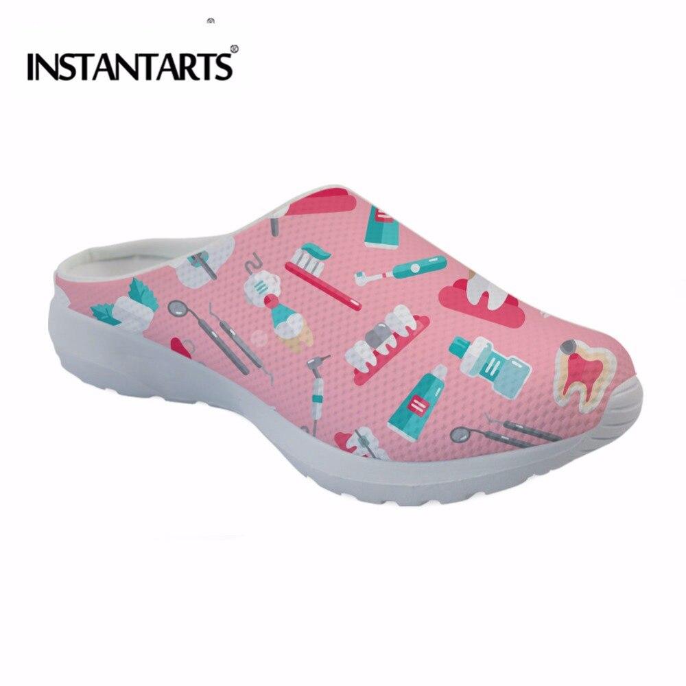 INSTANTARTS 2018 Summer Women Beach Slippers Pink Cute Dental Equipment Print Breathable Mesh Shoes For Flip Flop Massage Plus