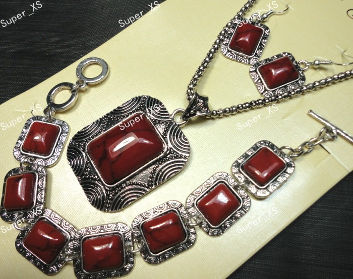 1sets Antique Silver red stone Bracelet Earrings Necklace 3 in 1 Jewelry Lots wholesale Jewelry Sets Free shipping LB182