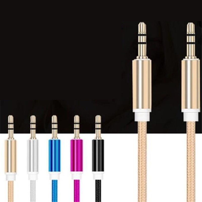 Nylon Jack Audio Cable 3.5 Mm To 3.5mm Aux Cable Male To Male Kabel Gold Plug Car Aux Cord For Iphone Samsung Speaker For Xiaomi