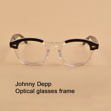 Johnny Depp Brilmontuur Mannen Vrouwen Computer Transparante Lenzenvloeistof Merk ontwerp Acetaat Vintage Stijl Bril Top kwaliteit sq313