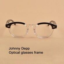 Johnny Depp Gözlük Çerçeve Erkekler Kadınlar Bilgisayar Şeffaf Gözlük Marka tasarım Asetat Vintage Stil Gözlük En kaliteli sq313