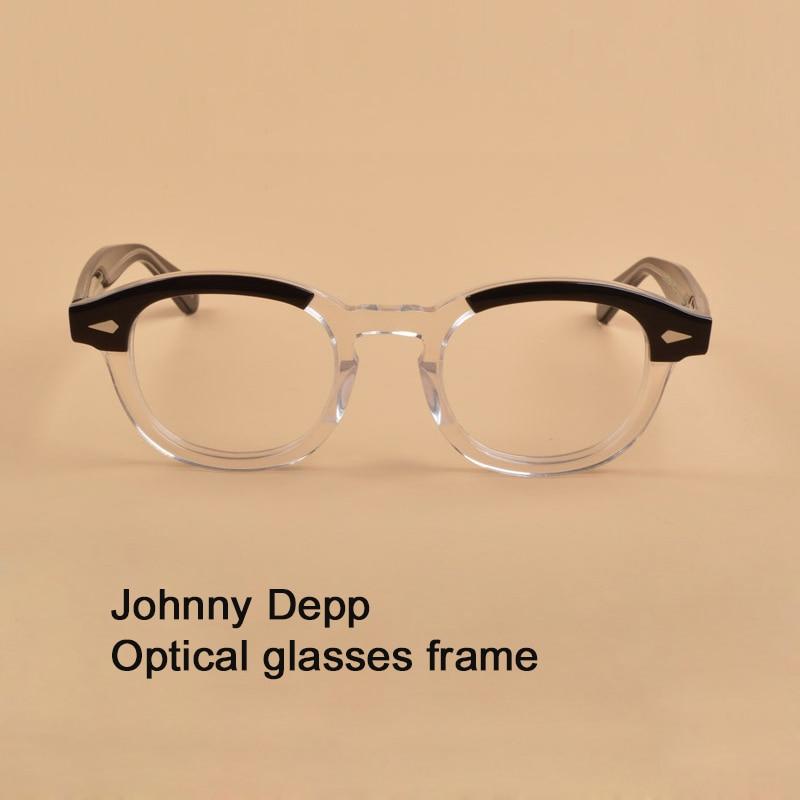 Johnny Depp Glasses Frame Men Women Computer Transparent Eyeglass Brand design Acetate Vintage Style Glasses Top quality sq313-in Men's Eyewear Frames from Apparel Accessories