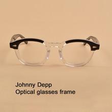 Johnny Depp Montura de gafas transparentes para hombre y mujer, lentes de acetato de diseño de marca, Estilo Vintage, de alta calidad, sq313
