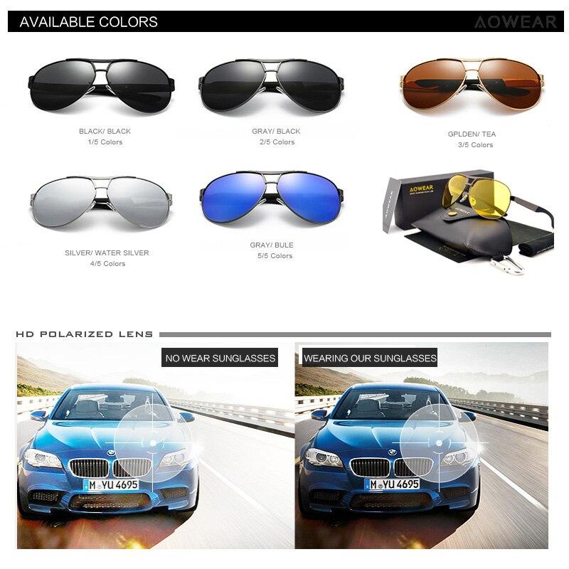 AOWEAR Markendesigner Übergroße Sonnenbrille Herren Nachtgelbe - Bekleidungszubehör - Foto 5