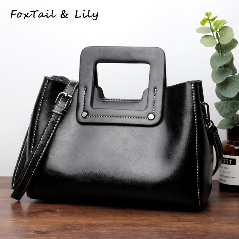 FoxTail & Lily Oil Wax Cowhide Women Tote Shoulder Bag Genuine Leather Ladies Small Handbags 2018 Brand Designer Crossbody Bags
