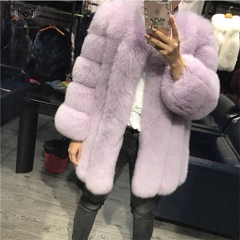 Tatyana Furclub réel manteau de fourrure manteau de fourrure de renard naturel pour les femmes veste fille hiver manteau fille rose col rond à manches longues Style de rue - 3