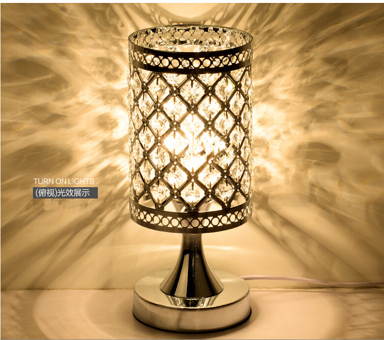 Modern Small crystal Table lamps brief bedroom bedside desk lamp ...
