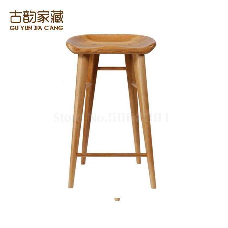 Solid Wood Bar Chair Dining Chair Household Nordic Log Bar Chair Simple Leisure High-footed Stool, Front Desk Chair, Study Chair