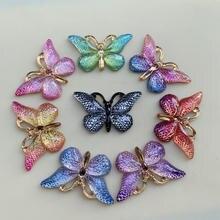 Разноцветные бабочки из натурального камня выпуклая серия с плоской задней стороной Кабошоны Ювелирные аксессуары 10 шт. 23*38 мм B27A