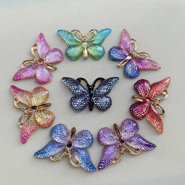 色の蝶天然石凸シリーズフラットバックレジンカボションジュエリーアクセサリー 10 個 23*38 ミリメートルb27A