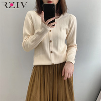 RZIV Spring casual solid color sweater female long sleeved round neck sweater decorative buttons