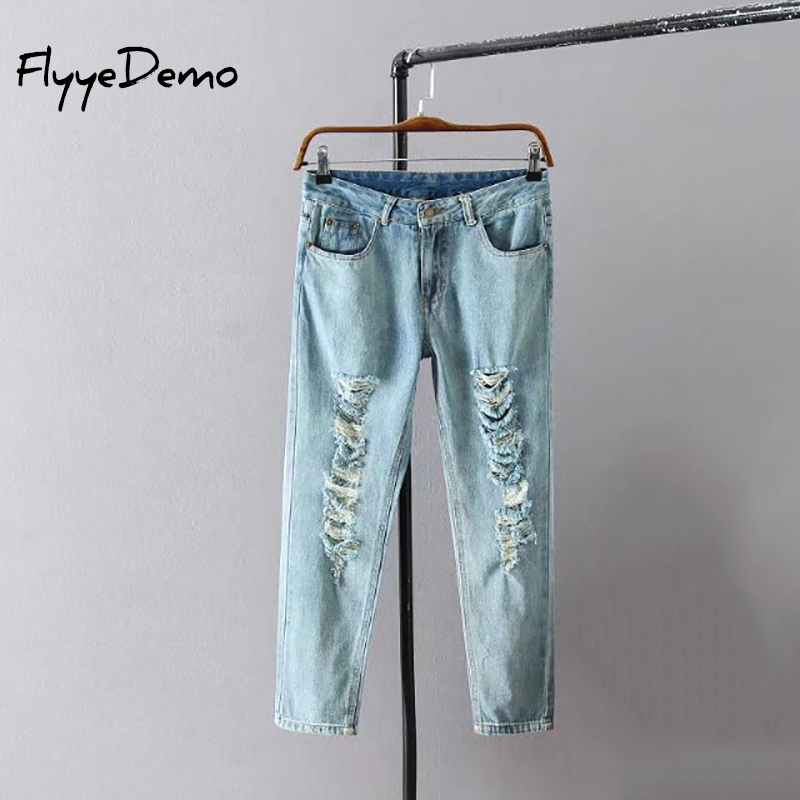 FlyyeDemo 2017 Plus Size Straight Jeans For Ladies XL - 5XL Blue Ripped Jeans Summer Fashion Loose Ripped Denim Jeans Women смартфон highscreen fest xl pro blue