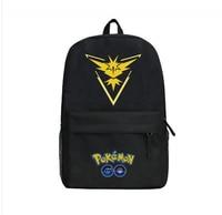 GAME Pokemon GO Pocket Monster Tema Valor Mystic Instinct Backpack Black Canvas Shoulder Bag School Bag