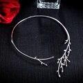 YP323 Lujo Ramas De Hoja Cuff Collar Creó Diamante Gargantilla Diseño Plata de Ley 925 Mujeres Joyería de La Boda
