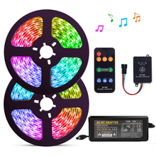 5 20m Kit WS2811 Digital LED Strip 12V Dream Color 30LEDs RGB LED Strip Light Set with SP106E Music Controller Power Adapter