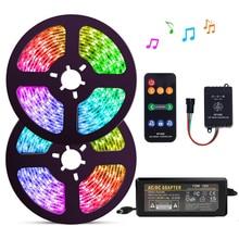 5 20m ערכת WS2811 דיגיטלי LED רצועת 12V חלום צבע 30 נוריות RGB LED רצועת אור סט עם SP106E מוסיקה בקר כוח מתאם