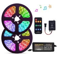 5 20m kiti WS2811 dijital LED şerit 12V rüya renk 30LEDs RGB LED şerit ışık seti ile SP106E müzik denetleyicisi güç adaptörü