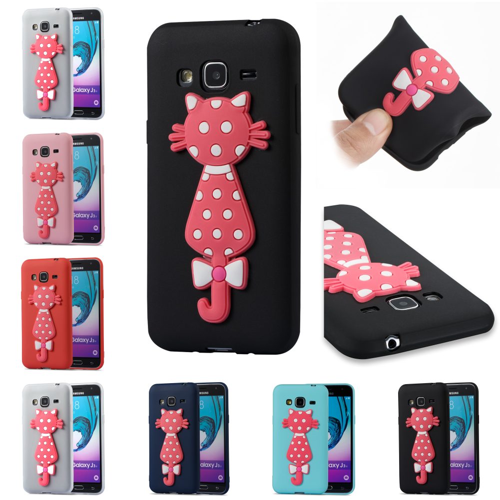 For Sumsung Samsung Galaxy Galax J3 2016 j 310 Cute 3D Cat Silicone Cartoon TPU Kryty Shell Cover Phone Case Cubierta
