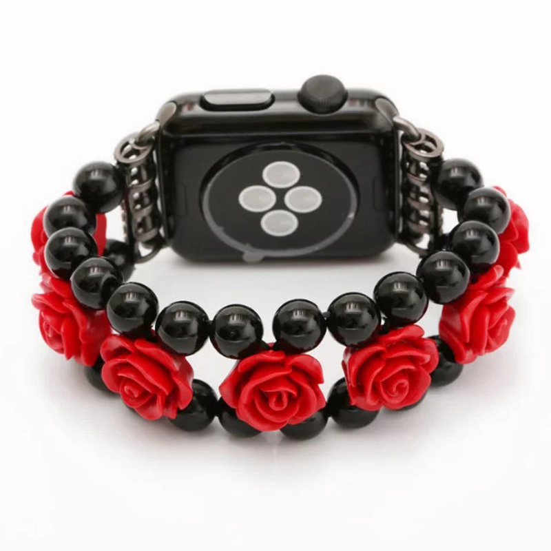Red Rose Flower Pendants Black Agate Wrist Watch Band for 38/42mm Apple Watch Series 1/2 Spiral Flexible Cord I231. the rose cord